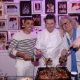 Exclusif - Brahim Asloum, le chef Christophe Leroy, Pierre-Jean Chalençon lors d'une soirée blanche dans un appartement à Paris le 1er juillet 2020. © Rachid Bellak / LMS / Bestimage