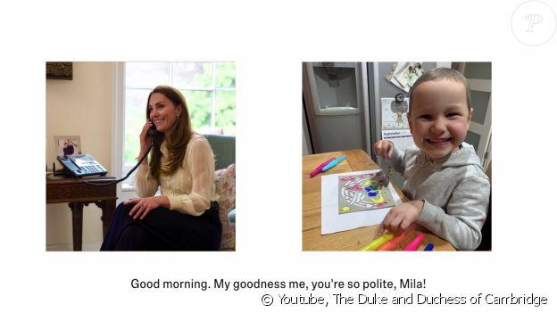 """Extrait de l'échange téléphonique entre Kate Middleton et la jeune finaliste du concours de photos """"Hold Still"""", dévoilé le 7 mai 2021 sur la chaîne YouTube des Cambridge."""