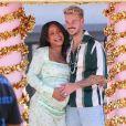 Christina Milian, enceinte, fait la promotion de son food truck Beignet Box lors d'une parade à Los Angeles avec son compagnon Matt Pokora, le 10 avril 2021.
