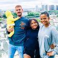 M. Pokora, Christina Milian, la fille de Christina, Violet, et leur fils Isaiah à Paris.