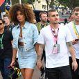 Marco Verratti et sa compagne Jessica Aidi avant le départ du 77ème Grand Prix de Formule 1 de Monaco le 26 mai 2019. © Bruno Bebert/Bestimage