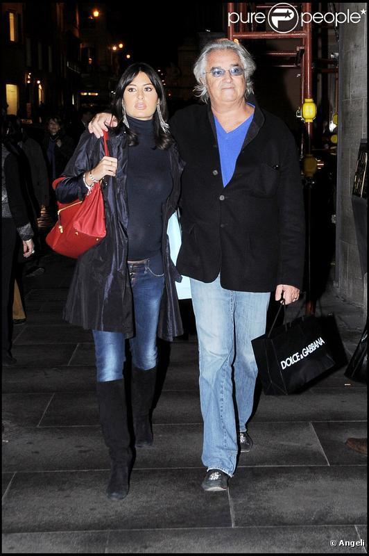 Flavio Briatore et sa femme Elisabetta Gregoraci en amoureux à Rome le 23 novembre 2009