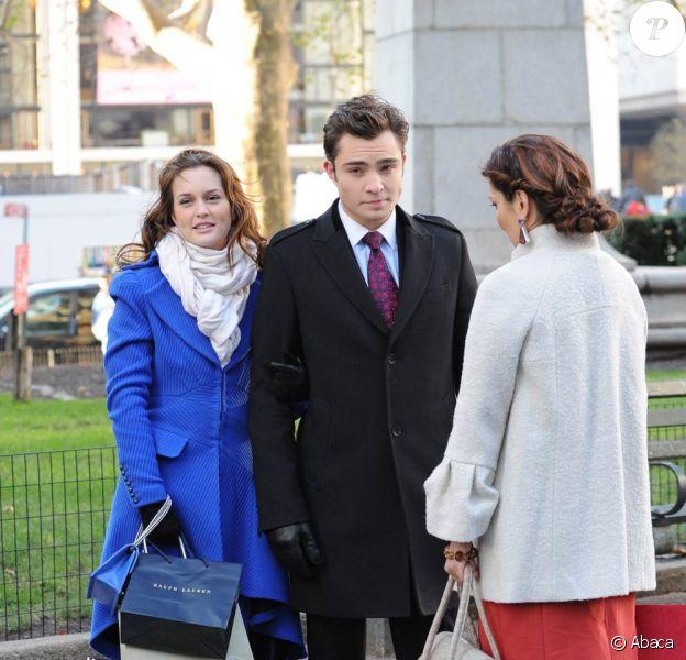 Leighton Meester et Ed Westwick sur le tournage de Gossip Girl, le 1er décembre 2009