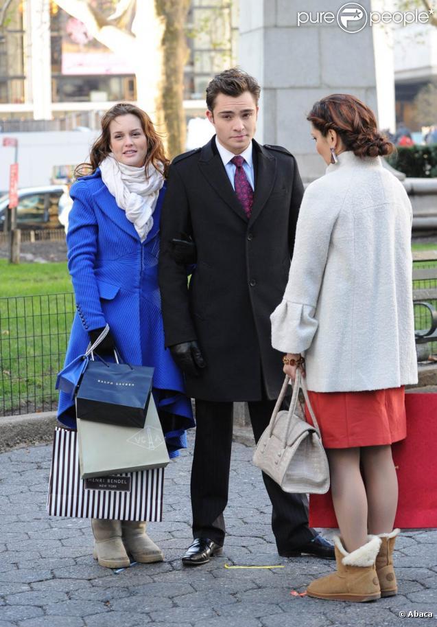 Leighton Meester et Ed Westwick sur le tournage de  Gossip Girl , le 1er décembre 2009