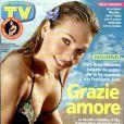 La jolie Ilary Blasi en couverture dun magazine TV.
