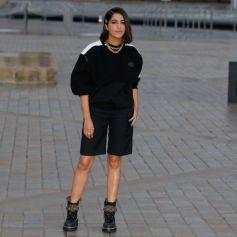 Leïla Bekhti arrive au défilé de mode Louis Vuitton lors de la Fashion Week printemps/été 2022 au Musée du Louvre. Paris, France, le 5 octobre 2021. © Veeren Ramsamy-Christophe Clovis/Bestimage