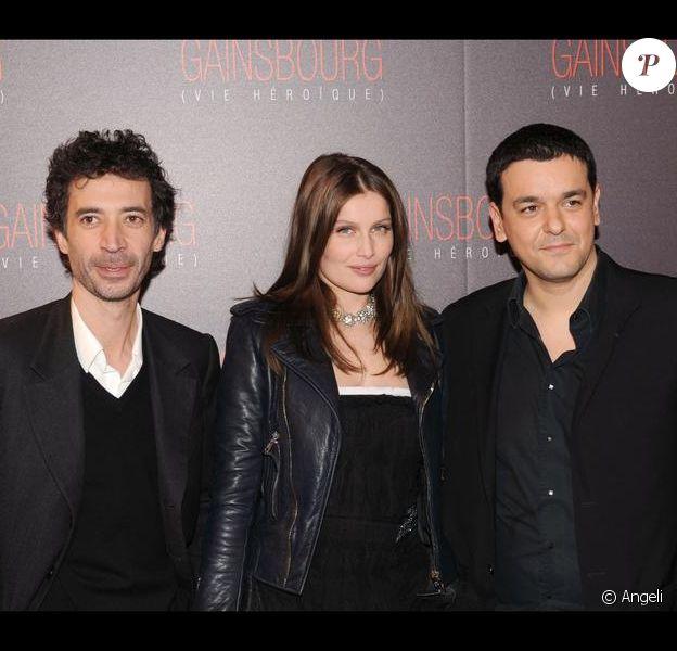 Eric Elmosnino, Laetitia Casta et Joann Sfar lors de la première de Gainsbourg (vie héroïque)
