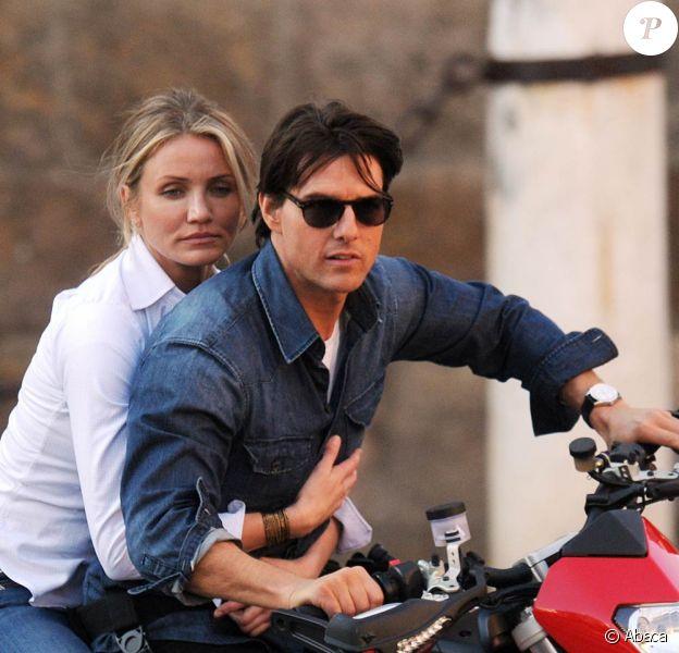 Tom Cruise et Cameron Diaz sur le tournage de Knight and Day, à Long Beach, en Californie, le 25 janvier 2010.