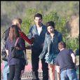 Le couple Demi Lovato et Joe Jonas, sur le tournage d'un nouveau clip, à Los Angeles, samedi 10 avril.