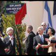 Rachida Dati lors de l'inauguration de la place Ben Gourion dans le VIIe arrondissement de Paris le 15 avril 2010, aux côtés du maire de Paris Bertrand Delanoë et de Shimon Peres