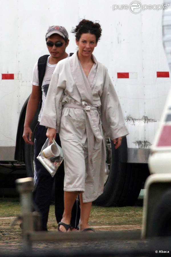Evangeline Lilly sur le tournage de Lost, à Hawaï, le 14 avril