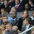 Pierre Sarkozy et Rama Yade assistent au match PSG-Monaco en finale de la Coupe de France au Stade de France