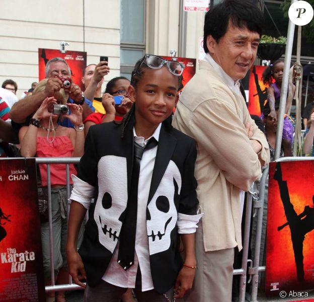 Jaden Smith et Jackie Chan, à l'occasion de l'avant-première de Karate Kid, à l'AMC River East 21 Theatre de Chicago, le 26 mai 2010.