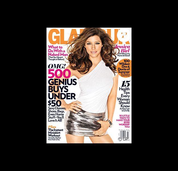 Jessica Biel en couverture du magazine Glamour US de juillet 2010