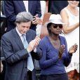 Rama Yade et Patrick de Carolis lors de la finale Dames de Roland-Garros 2010, le 5 juin 2010