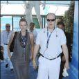 Albert Grimaldi et Charlene Wittstock, le 26 juillet 2009, aux championnats du monde de natation, à Rome.