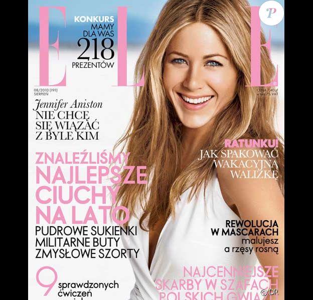 Jennifer Aniston en couverture du ELLE Pologne du mois d'août 2010