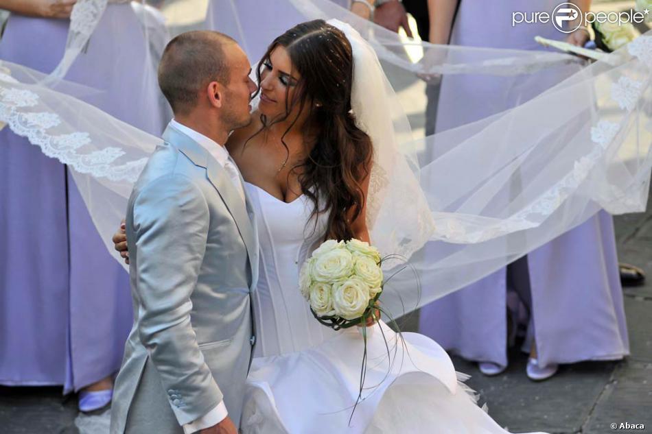 Mariage de Wesley Sneijder et Yolanthe Cabau van Kasbergen, le 17 juillet  2010, à Castelnuovo (Toscane).