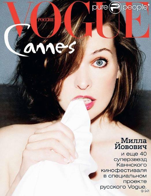 Milla Jovovich en couverture du Vogue Russie du mois d'août