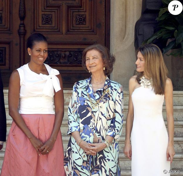 Michelle Obama, Sasha Obama et la famille royale d'Espagne dont la belle Letizia à Palma de Majorque le 8 août 2010