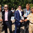 Sylvester Stallone, Dolph Lundgren et Jason Statham, lors de la journée promo de  The Expendables , qui s'est notamment tenue à la base militaire de Wellington, près de Londres, le 9 août 2010.