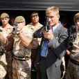 Dolph Lundgren lors de la journée promo de  The Expendables , qui s'est notamment tenue à la base militaire de Wellington, près de Londres, le 9 août 2010.