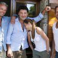 Vanessa Demouy, son époux Philippe Lellouche, David Brécourt et Christian Vadim, jouent la pièce Boire, fumer et conduire vite, au festival de Ramatuelle. Août 2010
