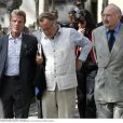 Georges Kiejman avant son malaise aux côtés de Bernard Kouchner et Régis Debray aux obséques d'Alain Corneau