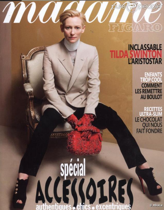 Tilda Swinton en couverture de Madame Figaro