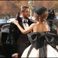"""Tournage du clip """"C'est bientôt la fin"""", de la troupe de Mozart l'Opéra rock. Maeva Méline et Florent Mothe, le 22 septembre 2010, à Paris"""