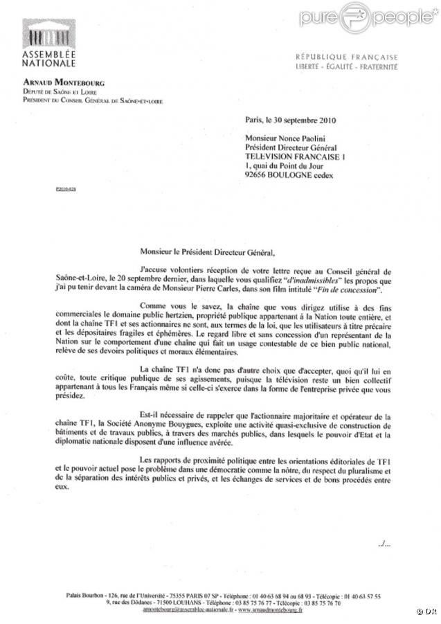 Courrier d 39 arnaud montebourg la direction de tf1 - Reclamation reexpedition courrier ...