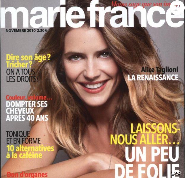 Alica Taglioni en couverture de Marie France