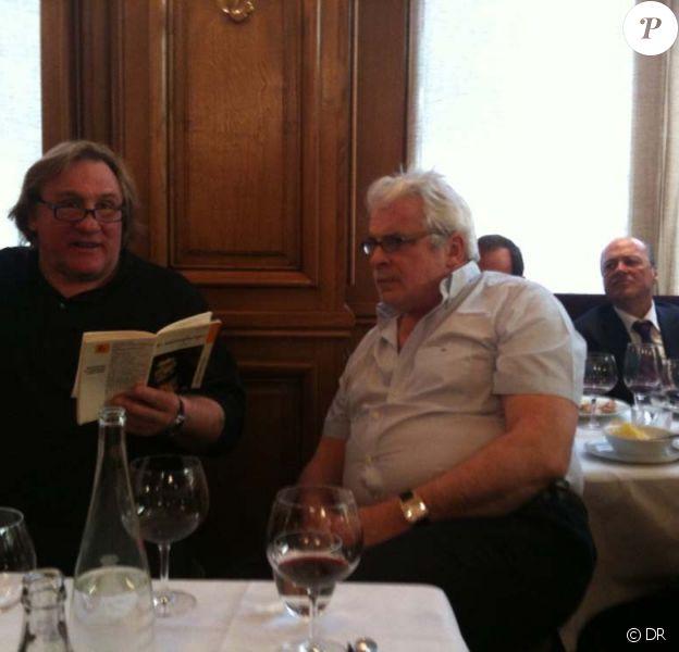 Gérard Depardieu et Jacques Weber à La Fontaine Gaillon, le 6 avril 2010