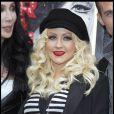 Christina Aguilera à l'occasion de la présentation de  Burlesque , dans l'enceinte du Crazy Horse de Paris, le 15 décembre 2010.