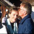 Julie Andrews et Blake Edwards en décembre 1989 en Suisse.