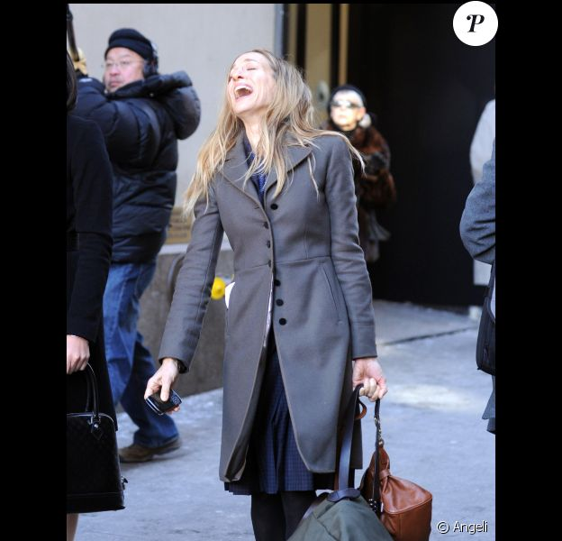 Sarah Jessica Parker sur le tournage de I Don't know how she does à Manhattan le 17 janvier 2011