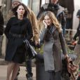 Sarah Jessica Parker et Olivia Munn sur le tournage de I Don't know how she does à Manhattan le 17 janvier 2011