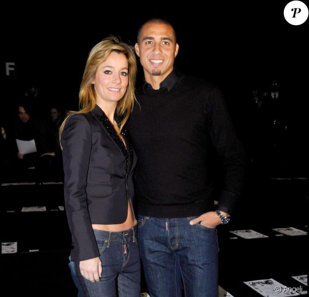David Trezeguet et sa femme Beatrice au défilé Dsquared2 à la Fashion Week de Milan, le 18 janvier 2011