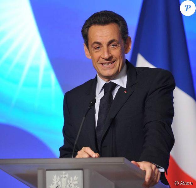 Le président Nicolas Sarkozy lors de sa conférence de presse consacrée au G20 et à l'international, au Palais de l'Elysée, le 24 janvier 2011.