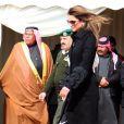 Rania de Jordanie en janvier 2010 lors d'une cérémonie d'adieu à des soldats jordaniens