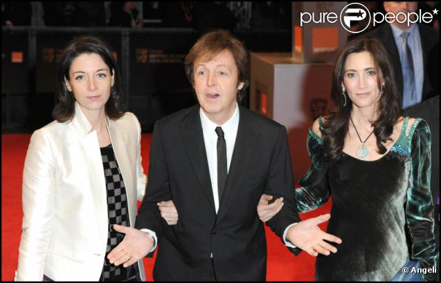 paul mccartney avec sa fille mary et sa compagne nancy lors des bafta awards le 13 f vrier 2011. Black Bedroom Furniture Sets. Home Design Ideas