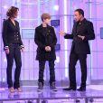 Justin Bieber sur le plateau de l'émission 50 Minutes Inside de TF1 avec Nikos et Sandrine Quétier (diffusion le 19 février)