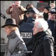Mathilde Penin et Jean-Luc Moreau lors des obsèques d'Annie Girardot à Paris le 4 mars 2011