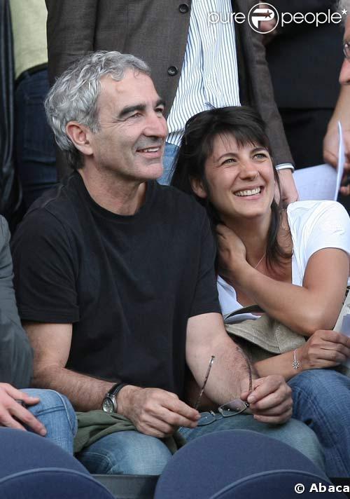 Estelle Denis et Raymond Domenech au Parc des Princes le 26/04/08