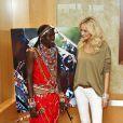 Adriana Karembeu présente la collection Massaï pour Pikolinos, le 1er avril 2011 à Madrid