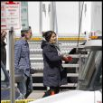 Salma Hayek sur le tournage de Here comes the Boom à Boston, le 5 avril  2011