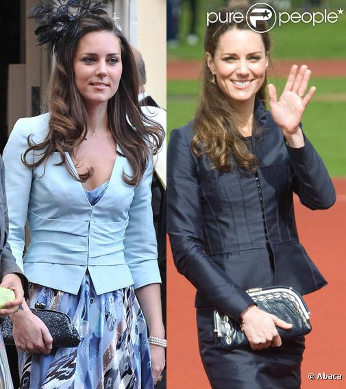 Kate Middleton a  progressivement affiné sa silhouette au  cours des années. A gauche, le 19 juillet 2008, lors du mariage de Lady Rose Windsor et de George Gilman ; à droite, en avril 2011, dans le Lancashire.