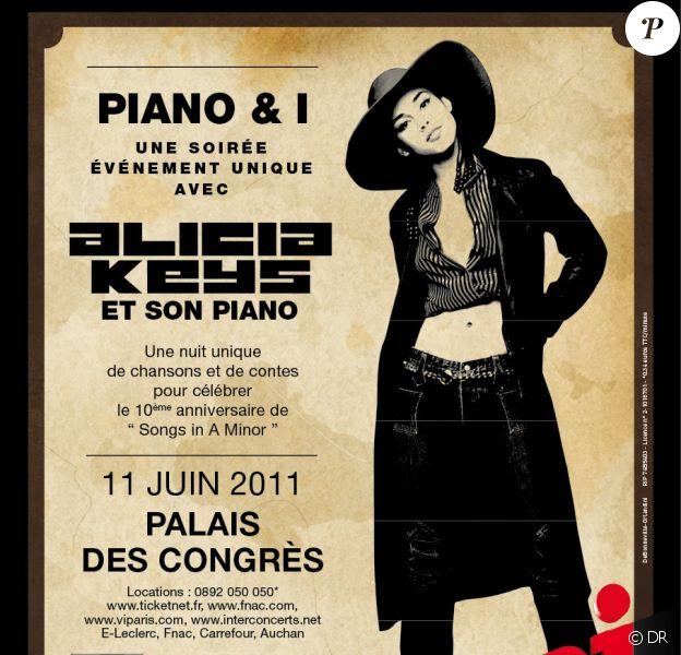 Alicia Keys sera en Paris au Palais des Congrès pour un concert unique : Piano & I le 11 juin prochain.