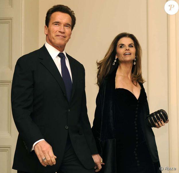 Arnold Schwarzenegger et Maria Shriver à la Maison Blanche, à Washington, le 22 février 2009.