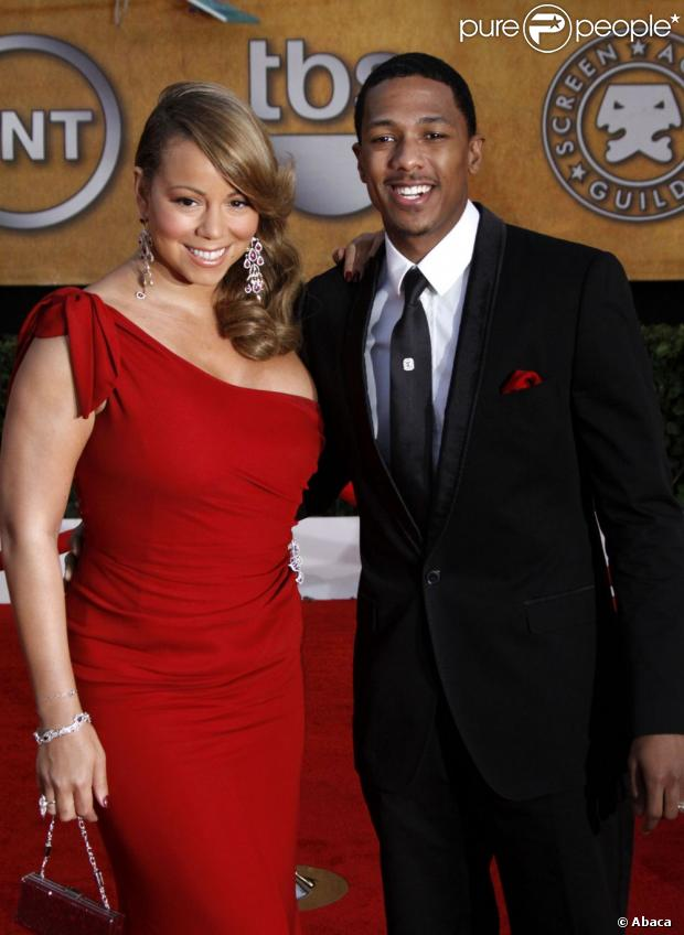 Mariah Carey et son mari Nick Cannon le 23 janvier 2010 à Los Angeles